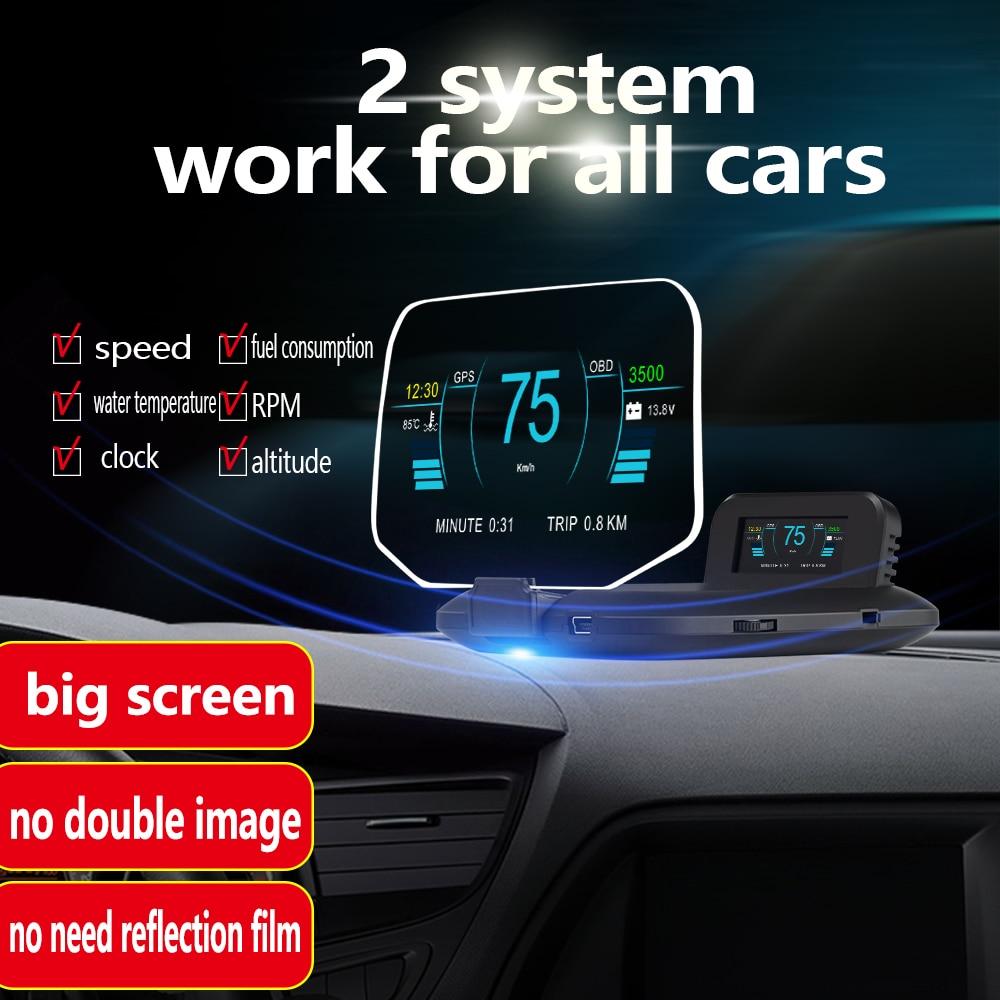 Head Up Display OBD2+GPS Dual Mode C1 HUD Display Car Speedometers Overspeed Warning Mirror Digital MPH KMH Water & Oil Temp RPM