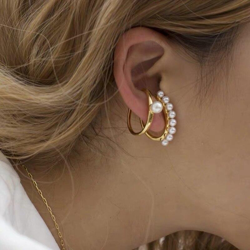 Pendientes de perlas sencillos a la moda con personalidad en forma de C pendiente sin orejas perforadas creativo pendiente Retro tendencia joyería oreja Cli