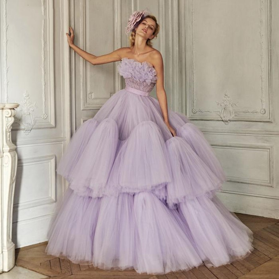 Vintage Lilac Prom Gowns Ruffles Extra Puffy Party Dress Long robe de soiree Arabic Prom Gowns Ball