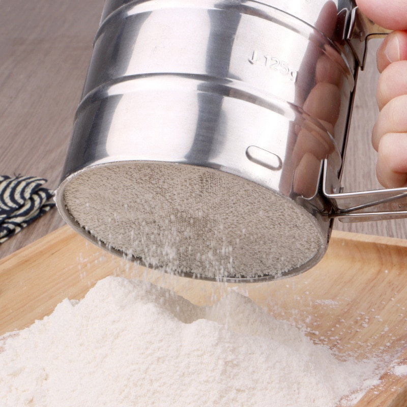 Acero inoxidable taza tamizadora en polvo tamiz de harina herramientas de cocción y cuchillos herramientas de pastelería tamiz/agitador de harina de torta de trigo
