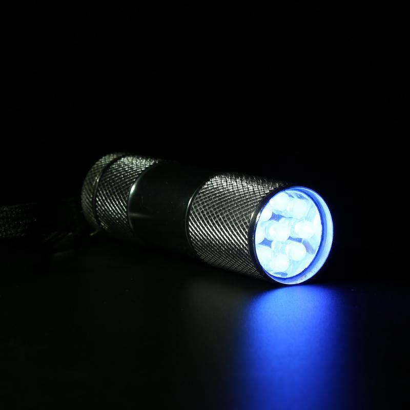 Mini linterna UV 9LED, linterna led ultravioleta, linterna Ultravioleta LED, linterna púrpura, lámpara UV