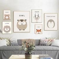 minimalist nordic cartoon poster cute fox deer animals canvas painting nursery kid room decoration wall art pictures no frame