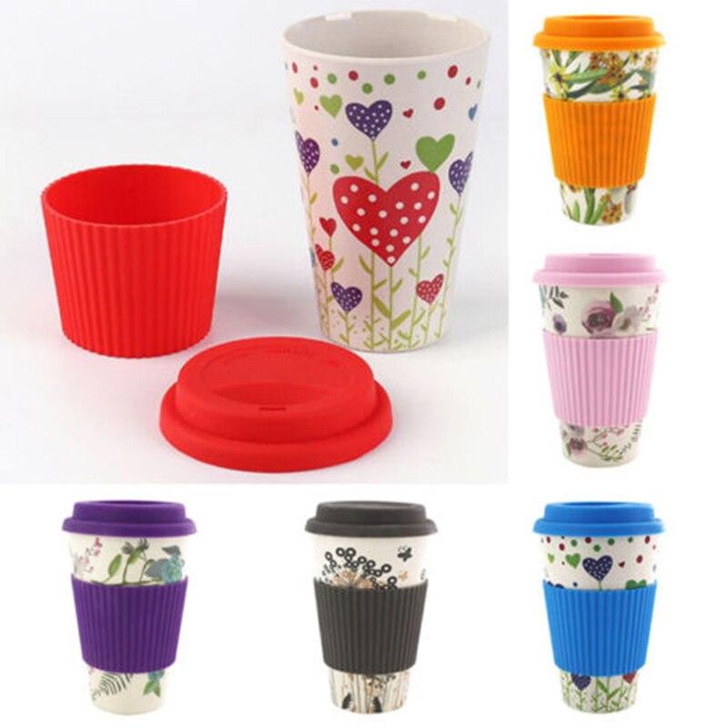 Taza de leche de fibra de bambú, tapa de silicona, tazas de café y té, tazas reutilizables antideslizantes para viaje a la Oficina, tazas portátiles y prácticas para beber