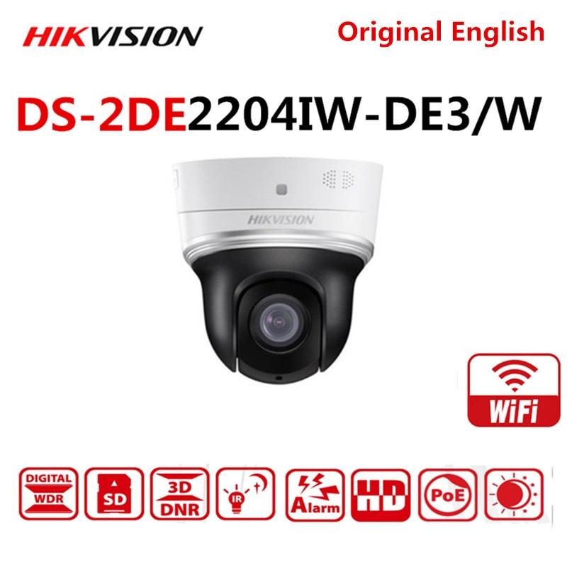 Hikvision DS-2DE2204IW-DE3/W inglés versión 2MP/1080P 4× Wifi Mini PTZ cámara IP inalámbrica con IR soporte Poe ONVIF tarjeta SD