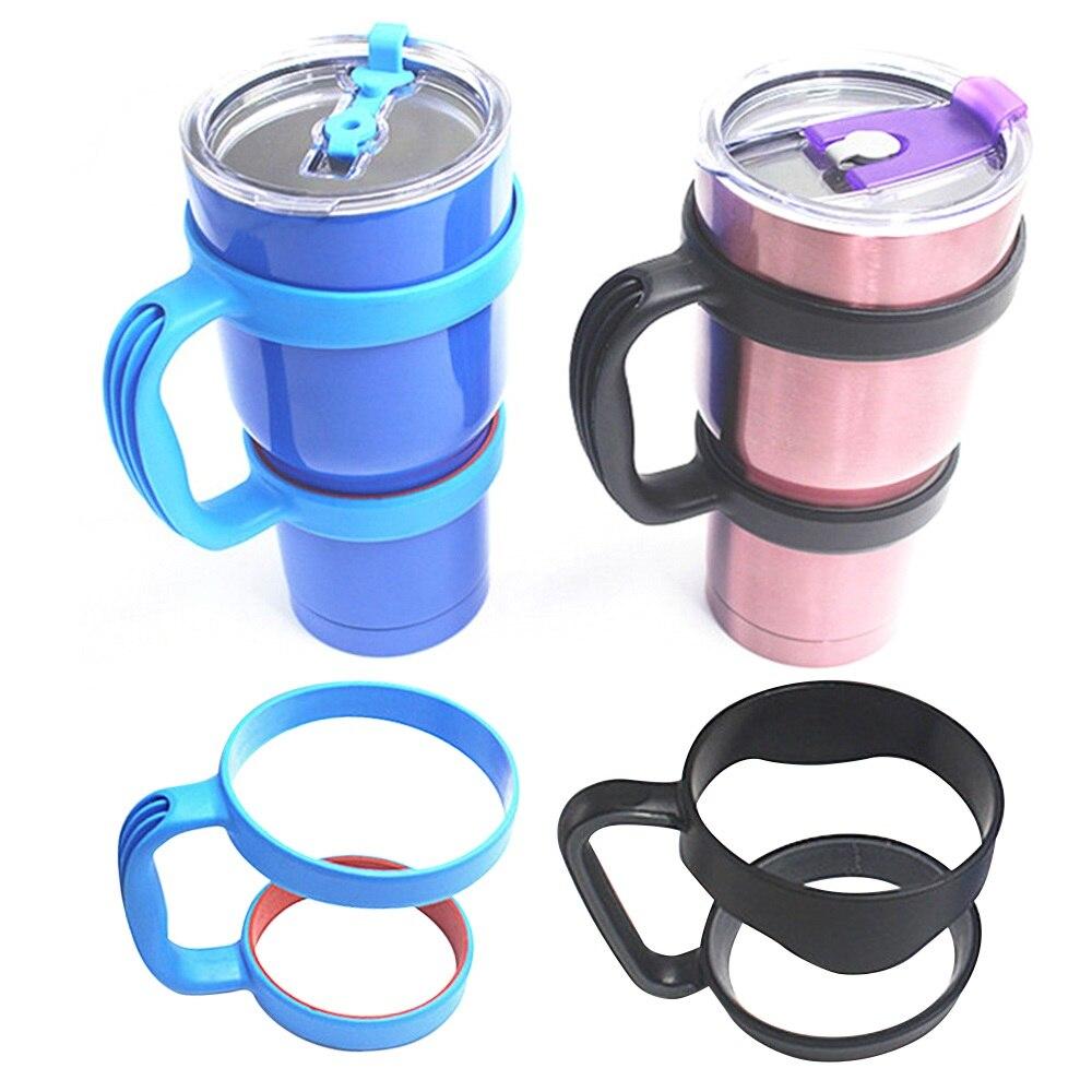 2 pçs portátil antiderrapante tumbler titular punho com anéis duplos para yeti 30oz copos de viagem canecas de água