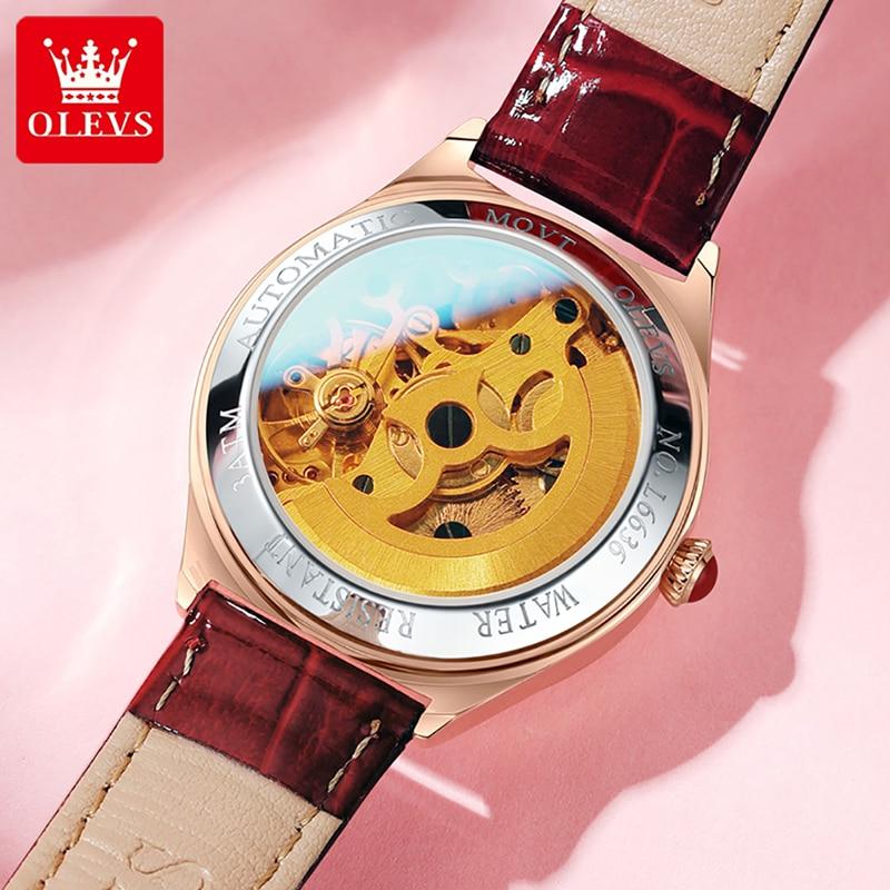 OLEVS Top Brand Luxury Diamond Automatic Mechanical Watch Ladies Fashion Wine Red Leather Strap Luminous Waterproof Watch 6636 enlarge