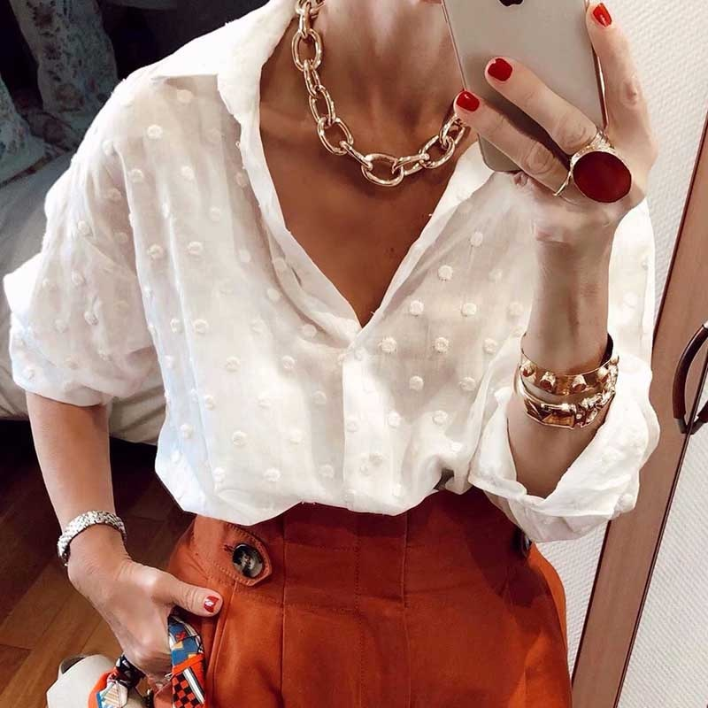 Jacquard polka dot chiffon blusa camisa mujeres de manga larga transparente sexy Casual streetwear blanco chemise top minimalista Mujer