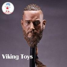 1/6 échelle mâle soldat tête sculpter Viking Travis Fimmel pour militaire Muscle corps Figrues