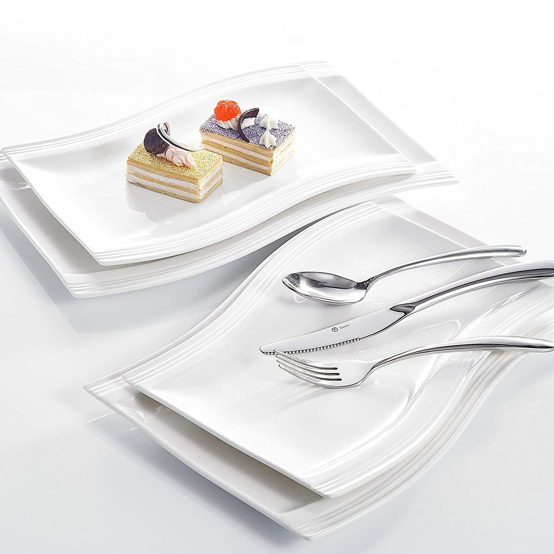 "MALACASA Flora White Porcelain Ceramic Dinner Plate Set of 2-Piece 11"" and 2-Piece 13.25"" Dinner Plate Dessert Fruit Snack Dish"