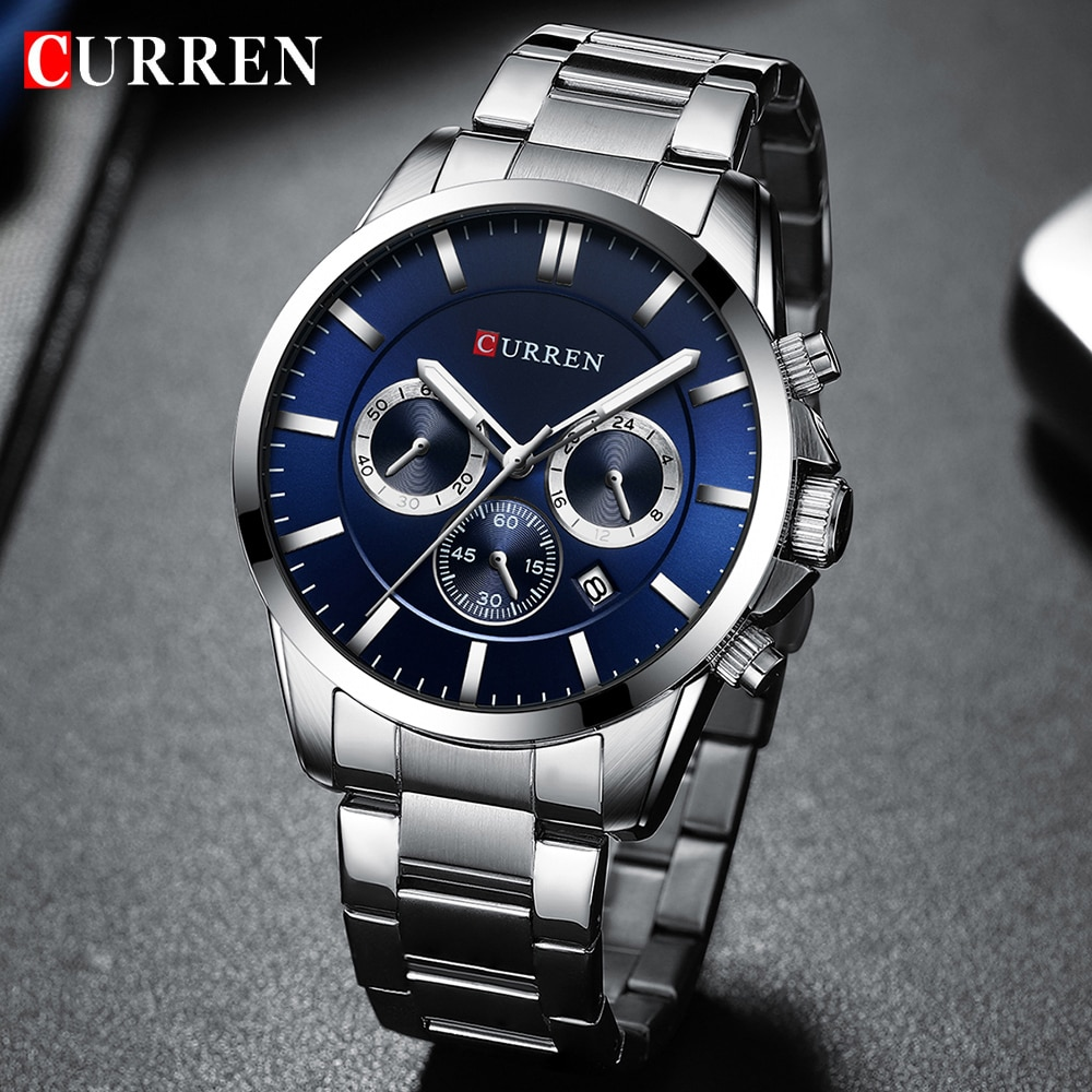 New CURREN Watch Men Top Brand Luxury Quartz Sport Watch Mens Casual Military Wristwatch Stainless Steel Clock With Chronograph