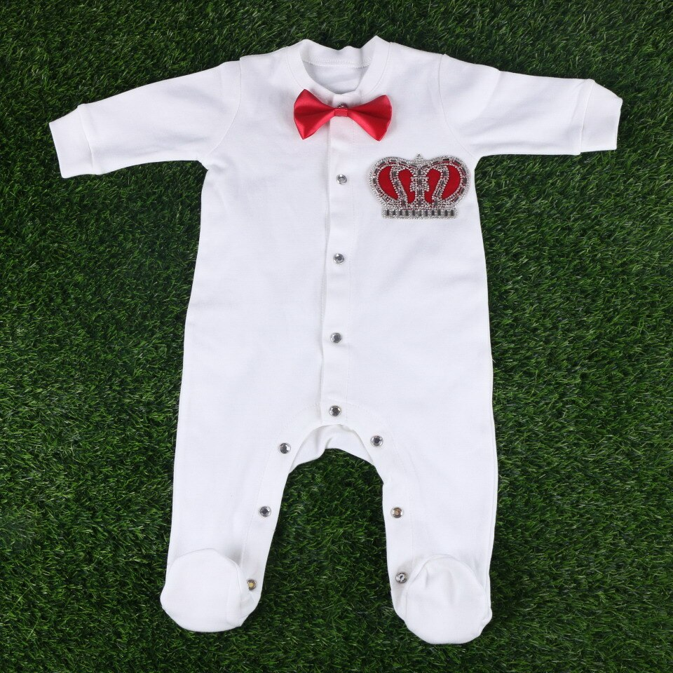 56 cm length handmade cute crown with bowtie newborn girl boy baby cotton Multicolor footies rompers