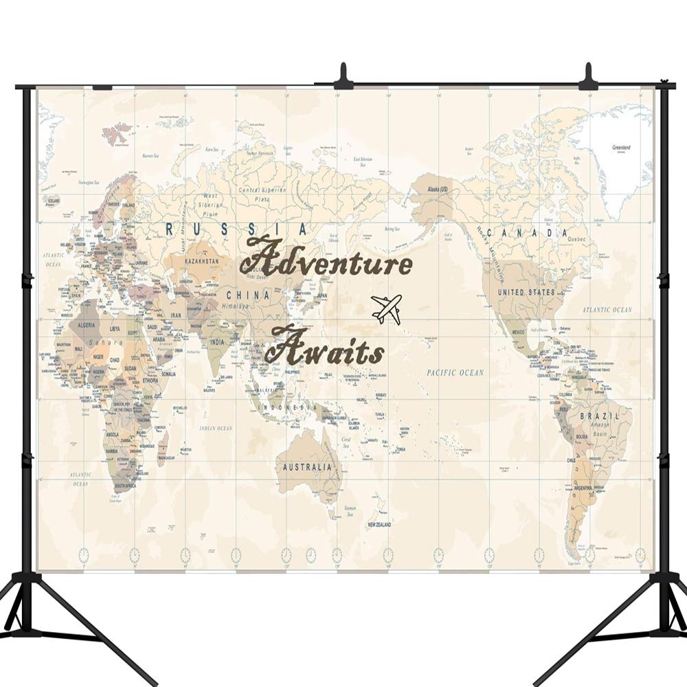 Fondo fotográfico Lyavshi aventura espera viaje fiesta de cumpleaños mapa del mundo telón de fondo estudio fotográfico photocall profesional