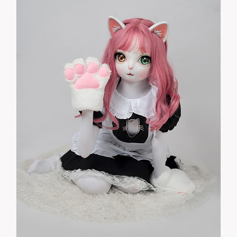 زي تنكري ياباني عالي الجودة مصنوع يدويًا من الراتينج للفتيات قطة ، لعبة لعب الأدوار ، BJD ، Kigurumi ، قناع دمية متقاطع ، صناعة يدوية