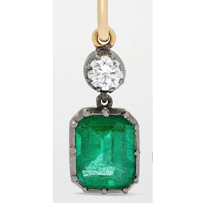 CSJ Solid 10K Lab Created Colombia Emerald