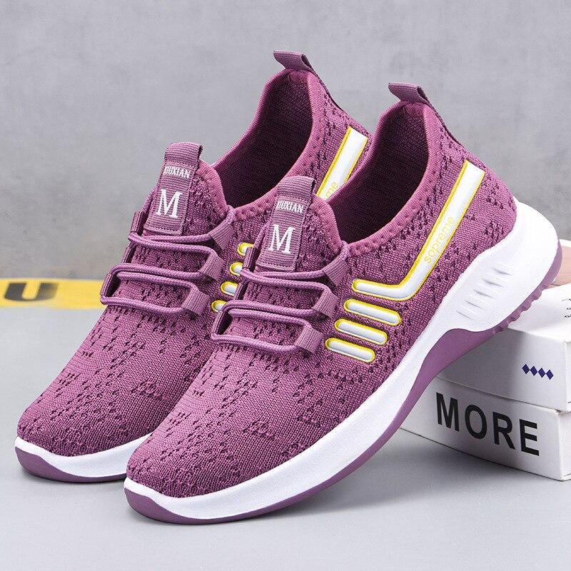 Zapatillas de deporte de malla para mujer, zapatos blancos para correr a...