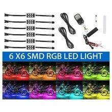 6Pcs Motorcycle ATV RGB LED Neon Under Glow Light Strip Kit Atmosphere Lights