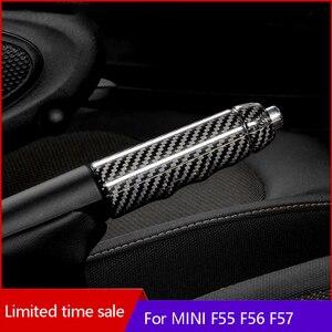 Car Carbon fiber Hand Brake Shell Interior Trim Parking Lever Decoration Cover Accessories For MINI ONE COOPER S F55 F56 F57 JCW