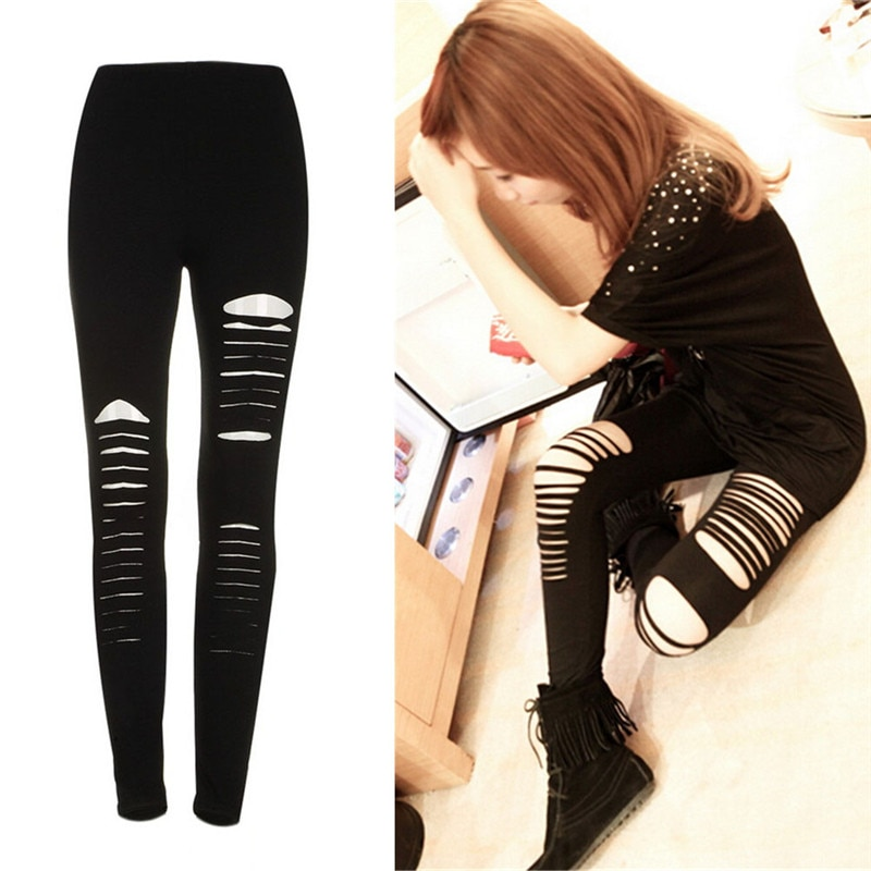 Black Punk Ripped Torn Slashed Cut Striped Leggings Pants Gothic Club Asymmetric Hole Elastic Skinny Pencil Pants For Women Girl