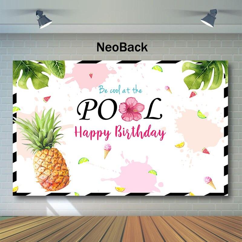 NeoBack tema de la piscina de verano Feliz cumpleaños fotografía telones de fondo sandía piña fruta fondo para foto cumpleaños telón de fondo