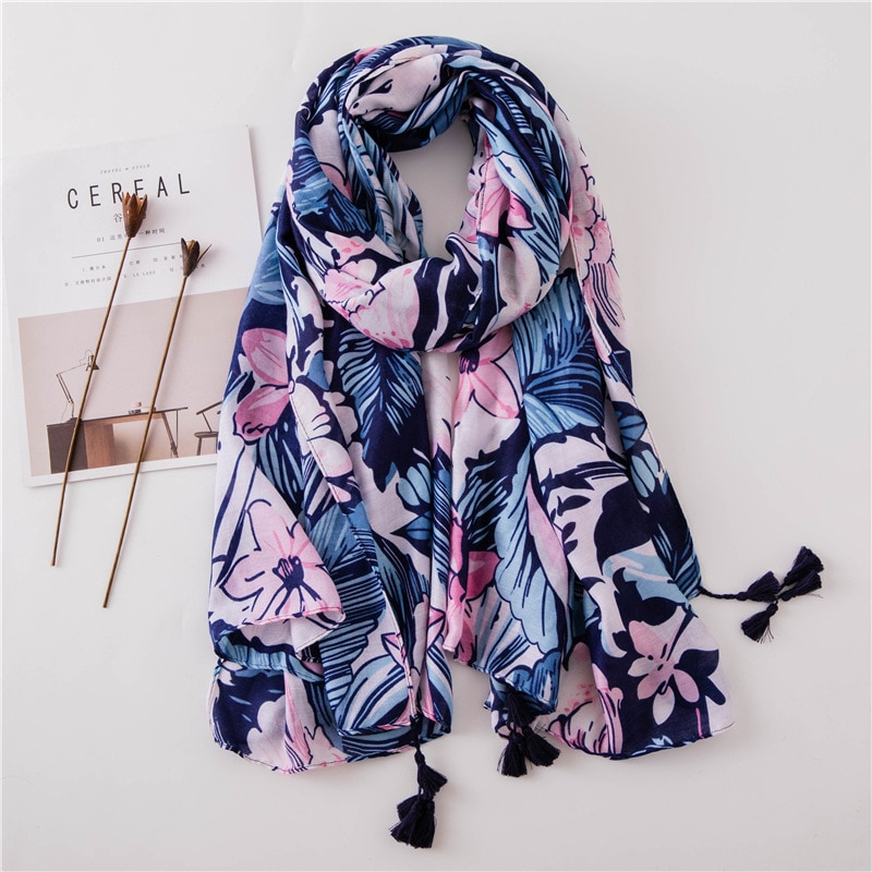 2021 Spain Luxury Fashion Stitch Floral Viscose Shawl Scarf High Quality Print Wrap Pashmina Snood Bufandas Muslim Hijab Sjaal
