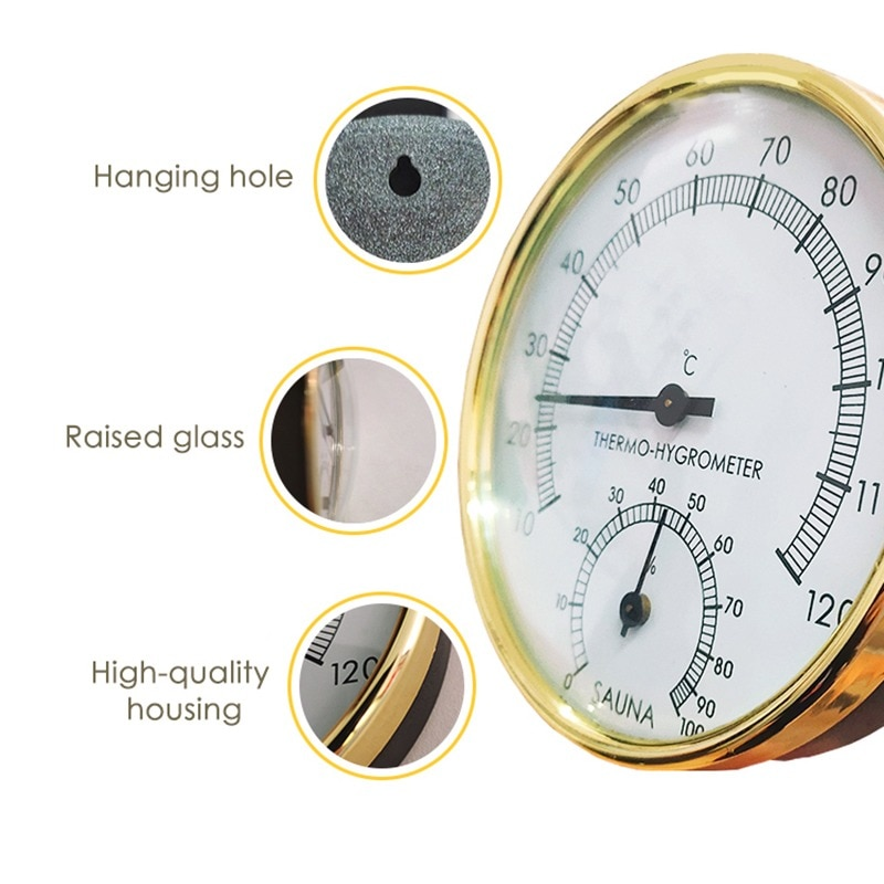 Wall Hanging Thermometer Dial Analog Hygrometer Temperature Gauge Stainless Steel Thermometer Meter Household Merchandise