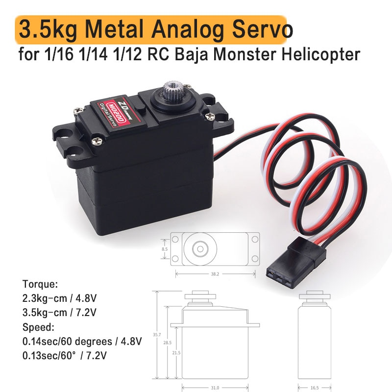 M0200 20g 3.5kg Metal Gear mini Servo for 1/16 1/14 1/12 RC Car Carson WPL Wltoys HSP JJRC ZD Racing