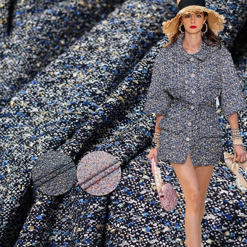 Tela de Tweed tejida de Jacquard de color blanco waxberry, accesorios para prendas de vestir, chaqueta de otoño para mujer, tela de costura, envío gratuito