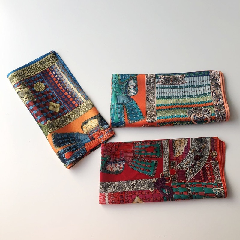Bufanda 100% de seda para mujer, pañuelo a la moda, bonita diadema, bufanda femenina de 53x53cm, pañuelo para la cabeza, pañuelos para el pelo para mujer