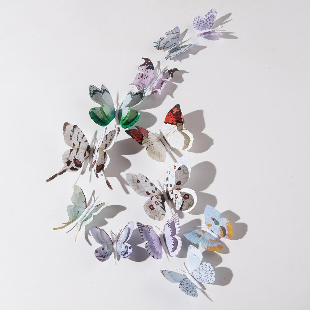 12 шт. 3D наклейка бабочки для украшения дома Настенная Наклейка, свадебные вечерние украшения на холодильник с имитацией бабочки