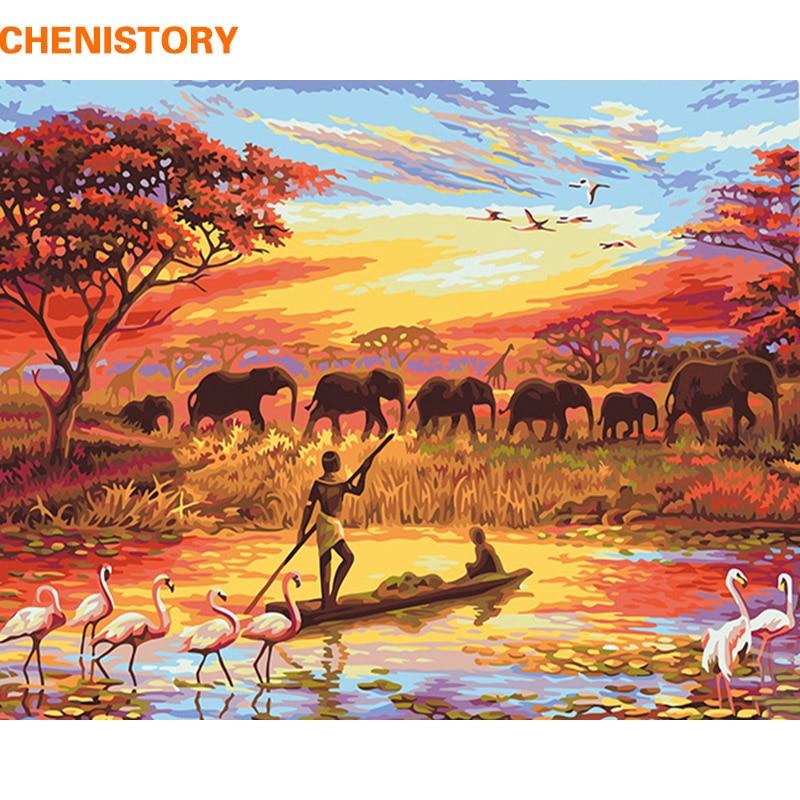 CHENISTORY, pintura Diy al atardecer con elefante por números, cuadro sobre lienzo moderno con paisaje para pared, regalo único pintado a mano para el hogar