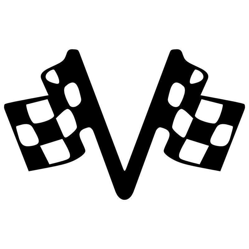 15,2 cm * 9,5 cm Checker banderas Racing vinilo calcomanías computertoon computadora pegatina
