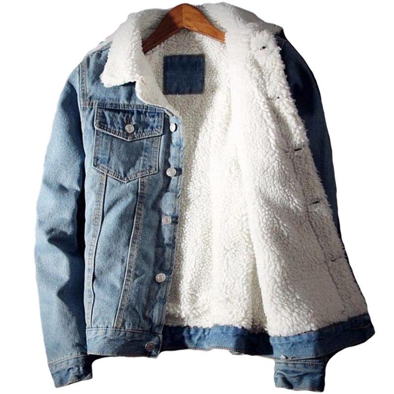 Men Denim Jacket Trendy Winter Warm Fleece Coats Mens Outwear Fashion Jean Jackets Male Cowboy Casual Clothes Plus Size dimusi spring autumn mens denim jacket mens trendy fashion bomber thin ripped denim jacket male cowboy jeans jackets 4xl ta341