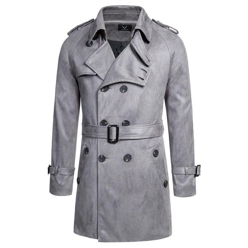 معطف واق من المطر طويل من جلد الغزال للرجال ، معطف مزدوج الصدر ، نحيف ، على الطراز البريطاني ، سترة واقية ، مجموعة خريف 2020 الجديدة
