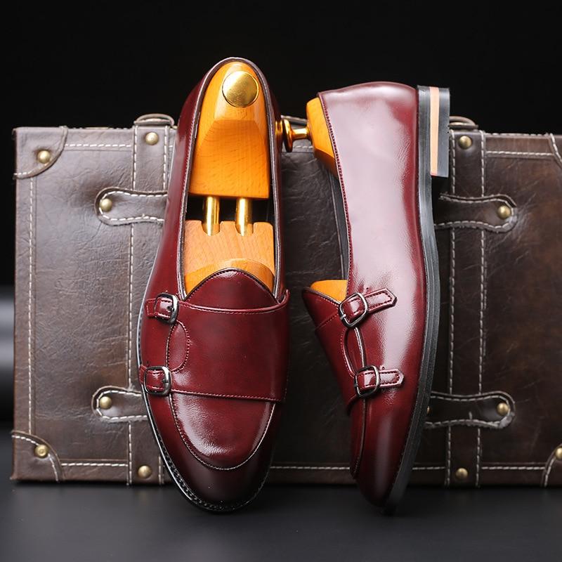 موضة الرجال متعطل جديد اليدوية الرجعية مزدوجة الراهب مشبك الأشرطة حذاء كاجوال الرجال الأخفاف للرجال جلد حذاء مسطح