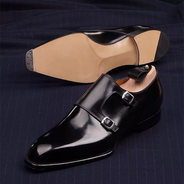 2021 new autumn and winter double button black shoes, versatile thick heel shoes, British style low