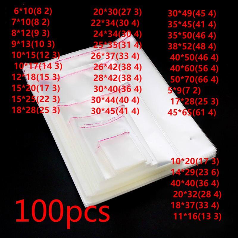 100 piezas transparente sello adhesivo OPP bolsas de plástico bolsas de celofán regalos caramelo bolsa de bolsa y bolsa de embalaje de caja de regalo