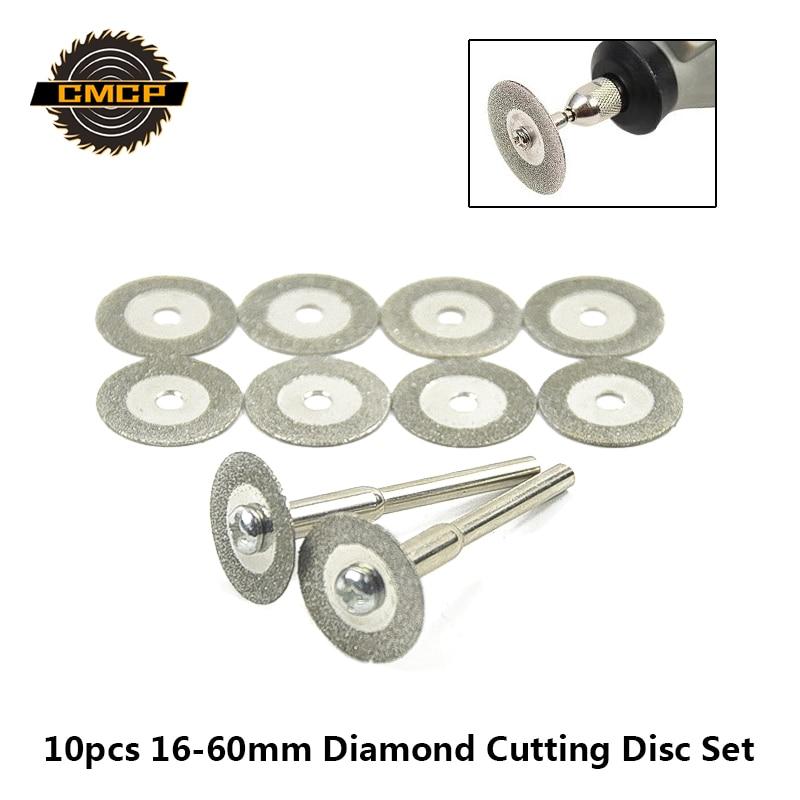 10 pces 16-60mm mini lâmina de serra de diamante para ferramentas rotativas discos de corte de diamante com mandril micro lâmina de serra discos de diamante