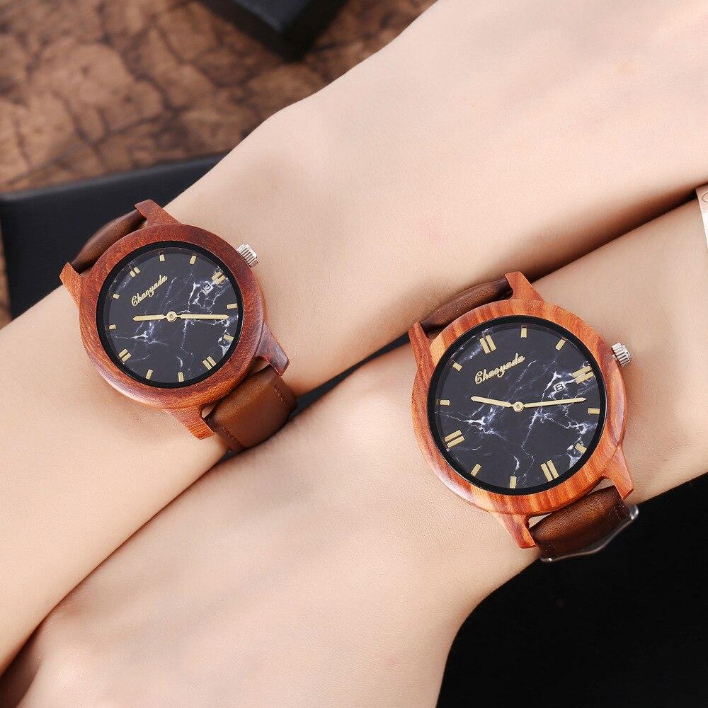 Парные часы с простым дизайном, деревянные часы ручной работы с пробковым ремешком, бамбуковые женские часы, Подарочная коробка, женские ча...