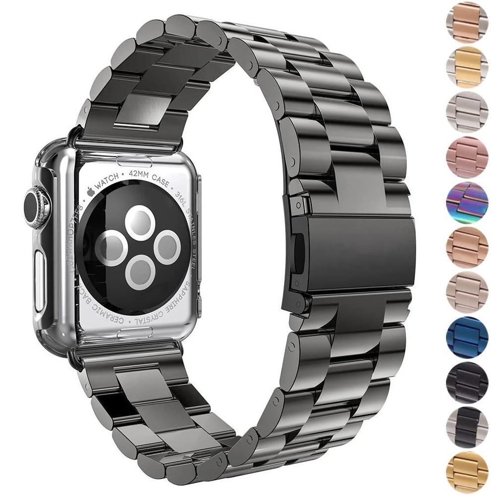 Edelstahl strap für apple watch band 44mm 40mm iwatch band 42mm 38mm metall armband apple watch 5/4/3/2/1 44mm + box + werkzeug