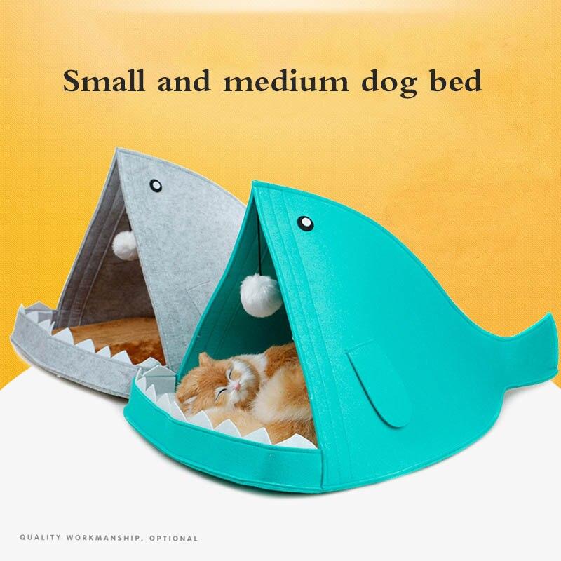 Perro gato cesta casa tiburón para perros pequeños carpa Alta Calidad Algodón pequeño y mediano perro gato cama casa cachorro producto para mascotas