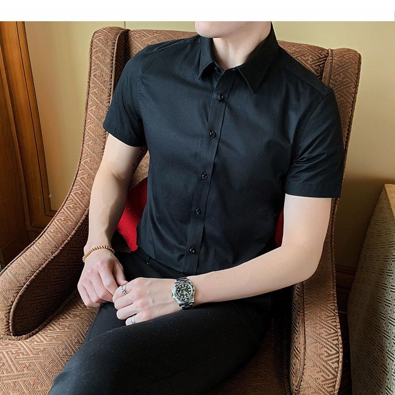 40kg-130kg Summer New Shirts Casual Fashion Cotton Short Sleeve Slim Fit Men Social Shirts Button Down White Dress Shirt 6XL 8XL