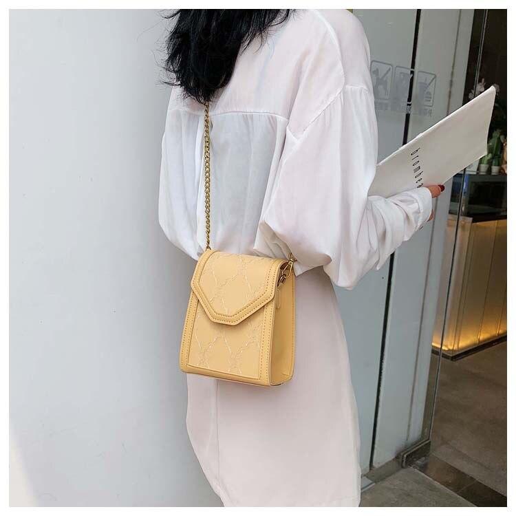 Verano Little Fresh Girl 2019 nueva moda de encaje pequeño cuadrado pack cien pares de un solo hombro slant Sling cadena bolsa