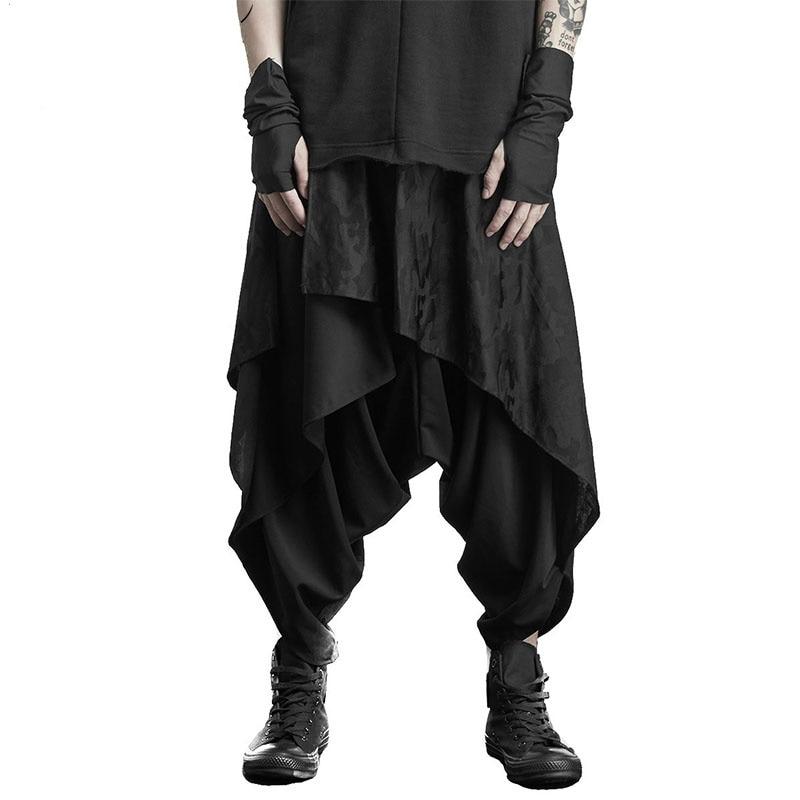 Dark Black Skirt Trousers Men's Alternative Personality Hair Stylist Clothing Men Pants Men Clothing 2020 Ropa De Hombre Hip Hop