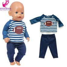 17 Inch Baby Doll Boy Clothes Sport Shirt Pants for 18 Inch American Generation Girl Doll Clothes La