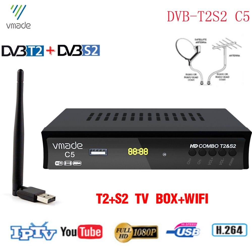 Vmade HD Digital terrestre receptor de satélite DVB-T2 DVB-S2 + WIFI USB apoyo H.264 Cccam Dolby Bisskey Combo Set-Top Box
