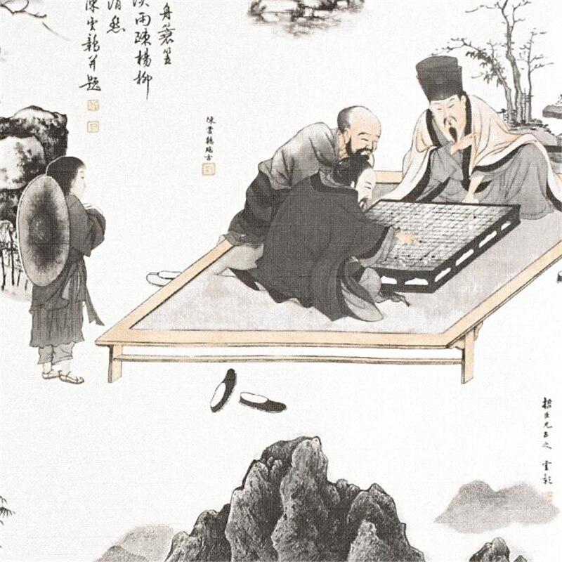 Papel pintado de estilo chino wellyu nuevo estilo chino estilo antiguo clásico Zen sala de té sala de estar TV fondo de papel de pared