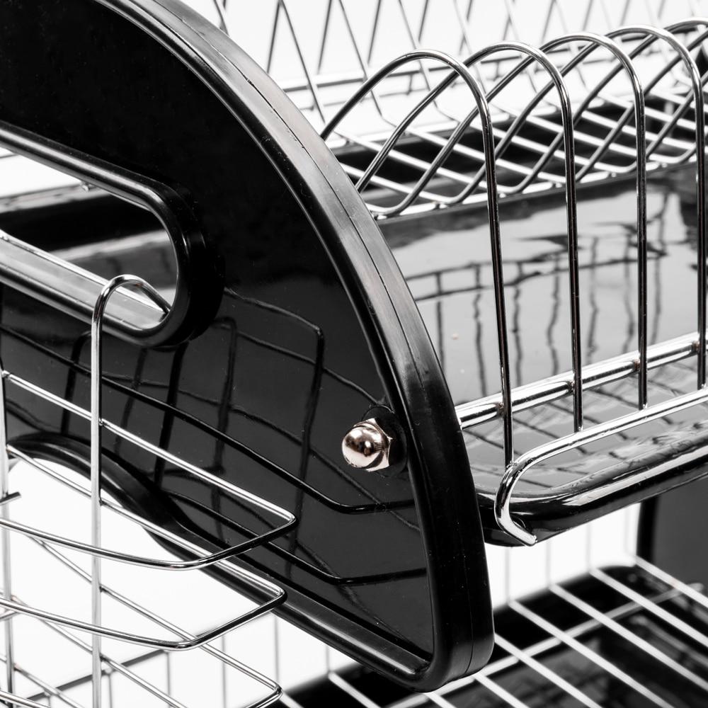 Купить с кэшбэком Multifunctional Kitchenware Organizer Storage Rack Dual Layers Bowls & Chopsticks & Spoons Collection Shelf Dish Drainer