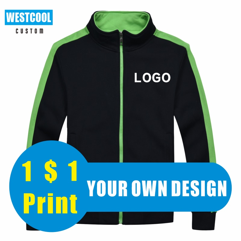 8 Colors Zipper Sweater Jacket Custom Embroidery Logo Outdoor Men and Women Clothing Own Picture Printing WESTCOOL 2020