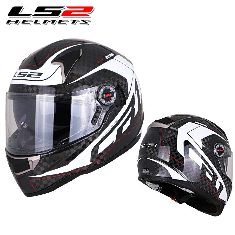 LS2 ff396 12 K fibra de carbono cara completa moto rcycle casco doble visor airbags sin bomba 100% original cascos moto LS2 casco de la CEPE