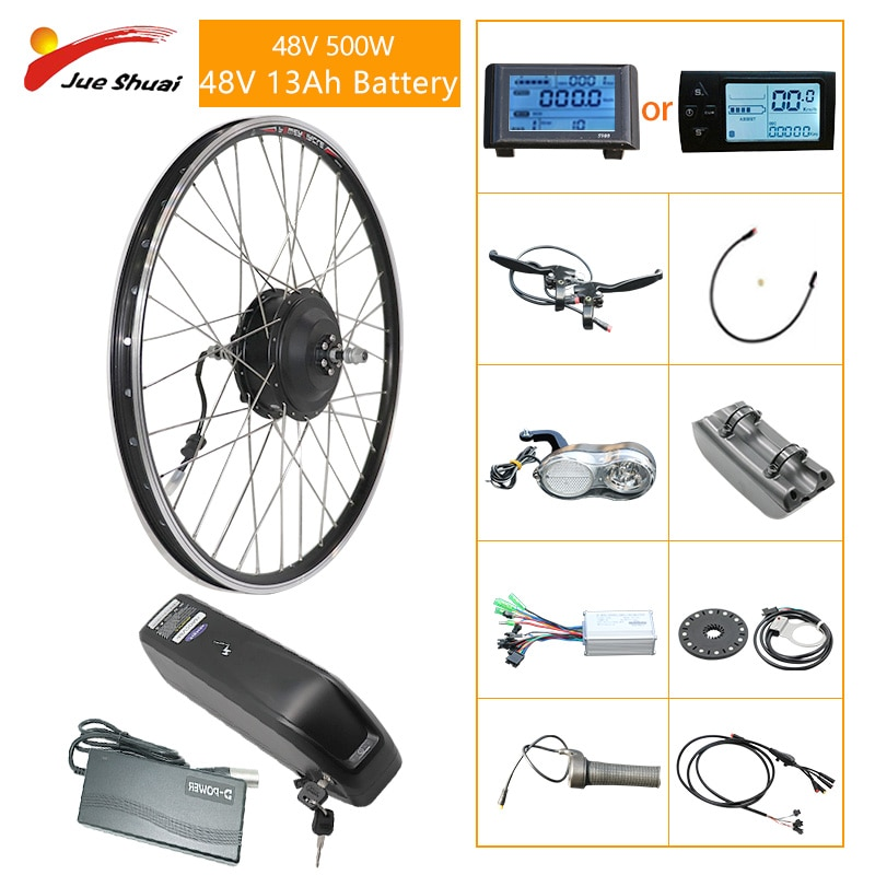 ebike Kit 500W 48V 350W-500W with Battery Front Wheel 20-29 inch Wheel Hub Motor Electric Bicycle Conversion Kit LCD Display